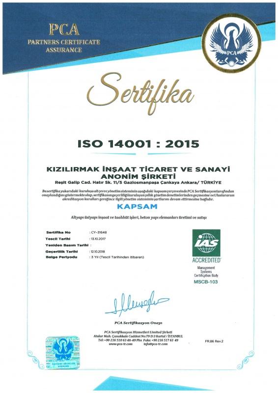 Kızılırmak İnşaat ISO 14001 Sertifika