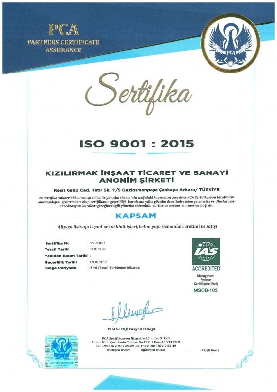 Kızılırmak İnşaat ISO 9001 Sertifikası